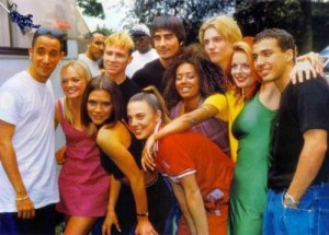BSB and Spice Girls in one picture...I would've blown my brains out. I was convinced Nick Carter was dating either Posh or Baby.